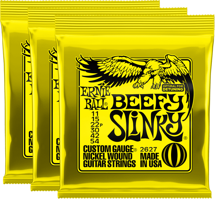 Ernie Ball Beefy Slinky Nickel Wound Strings (11-54) 3 Pack