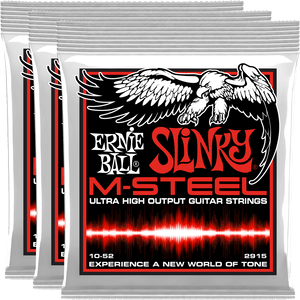 Ernie Ball STHB Slinky M-Steel Electric Guitar Strings (10-52) 3 Pack