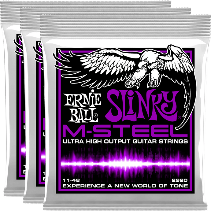 Ernie Ball Power Slinky M-Steel Electric Guitar Strings (11-48) 3 Pack
