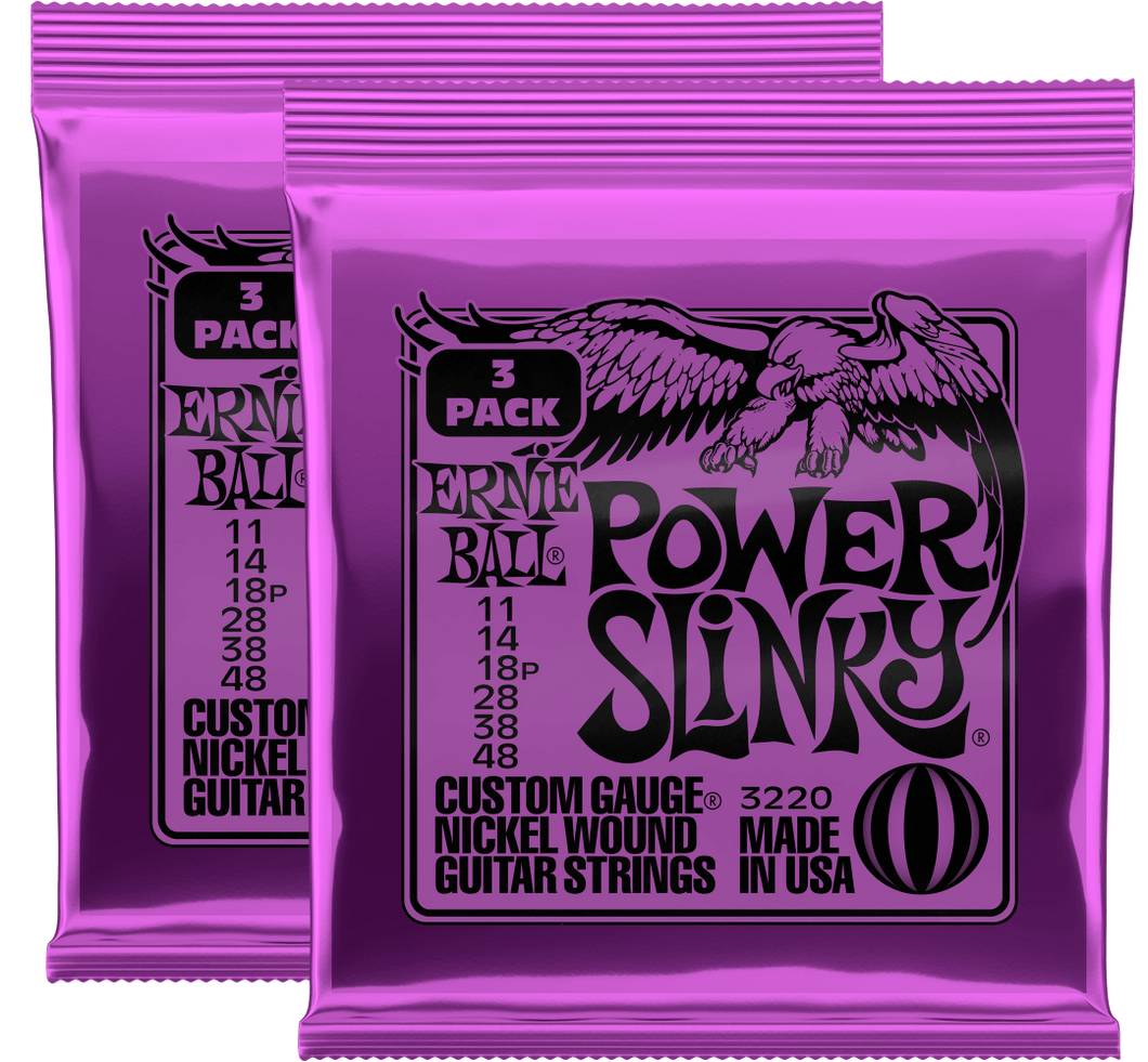 Ernie Ball Power Slinky Nickel Wound Strings (11-48) 2x3 Pack