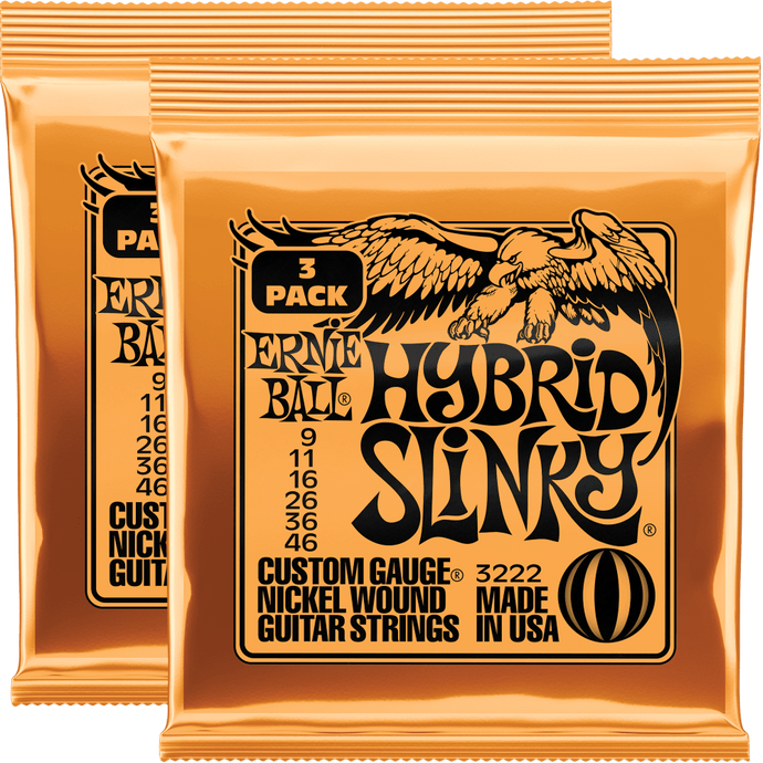 Ernie Ball Hybrid Slinky Nickel Wound Strings (9-46) 2x3 Pack