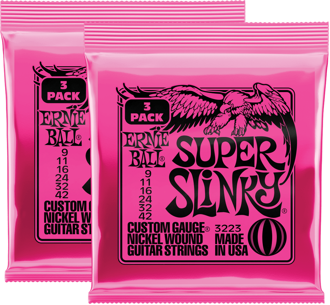 Ernie Ball Super Slinky Nickel Wound Strings (9-42) 2x3 Pack