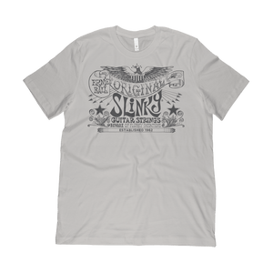 Often imitated, never duplicated - The original slinky art work as created by Rolly Crump. Beware of flunky imitations! Screen printed gray ink on silver poly cotton jersey t-shirt. 65% polyester, 35% combed ring-spun cotton, 3.5oz fabric.