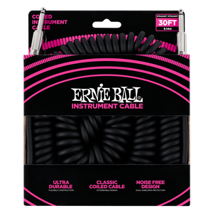 Ernie Ball 30' Coiled Straight/Angle Instrument Cable