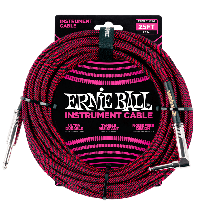 Ernie Ball 25' Braided Straight/Angle Instrument Cable (Black/Red)