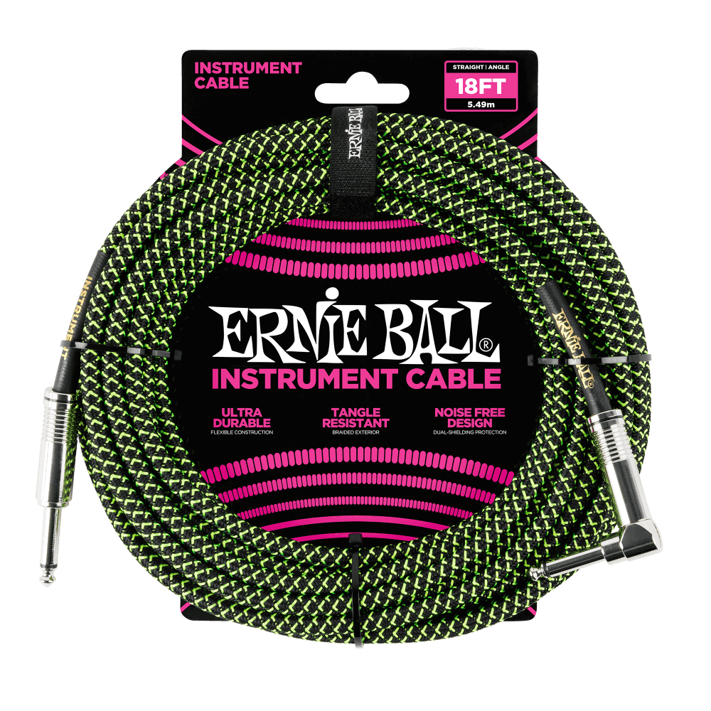 Ernie Ball 18' Braided Straight/Angle Instrument Cable (Black/Green)