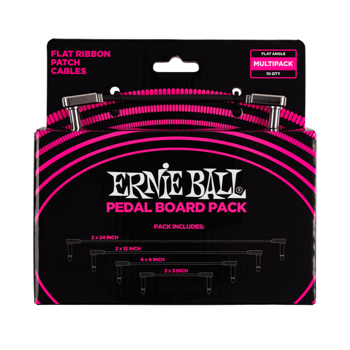 Ernie Ball Flat Ribbon Patch Cables Pedalboard Multi-Pack P06224