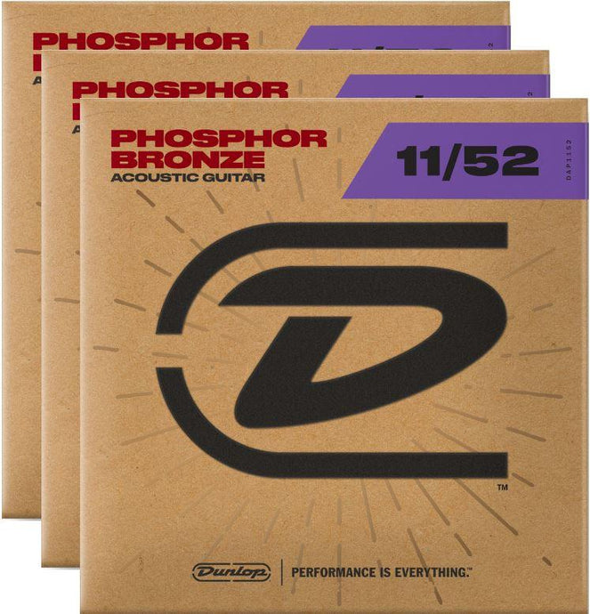 Dunlop Strings - Phos Bronze Med Light 11-52 - 3 Pack Free Shipping!