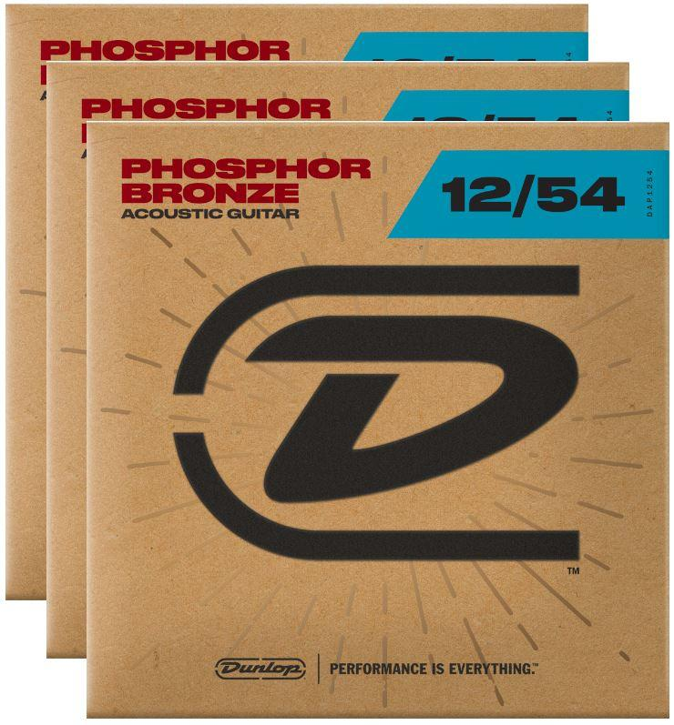 Dunlop Strings - Phos Bronze Light 12-54 - 3 Pack Free Shipping!