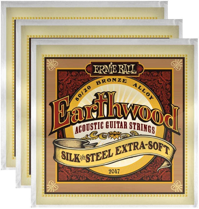 Ernie Ball Earthwood Silk & Steel 80/20 X-Soft Bronze Strings (3 Pack) - Tensolo Music Co.