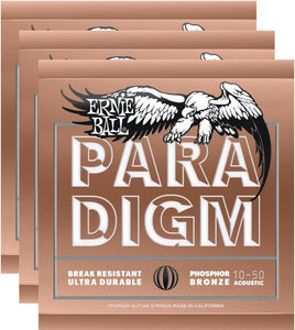Ernie Ball Paradigm Extra Light Phos Bronze Strings 10-50 - 3 Pack