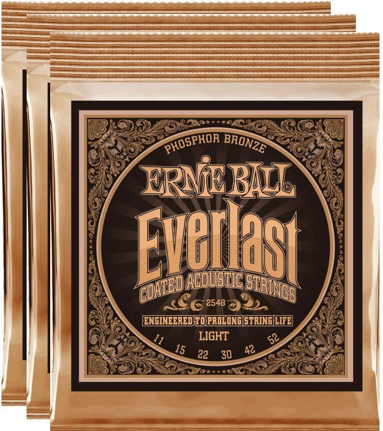Ernie Ball Everlast Light Coated Phos Bronze Strings 11-52 - 3 Pack