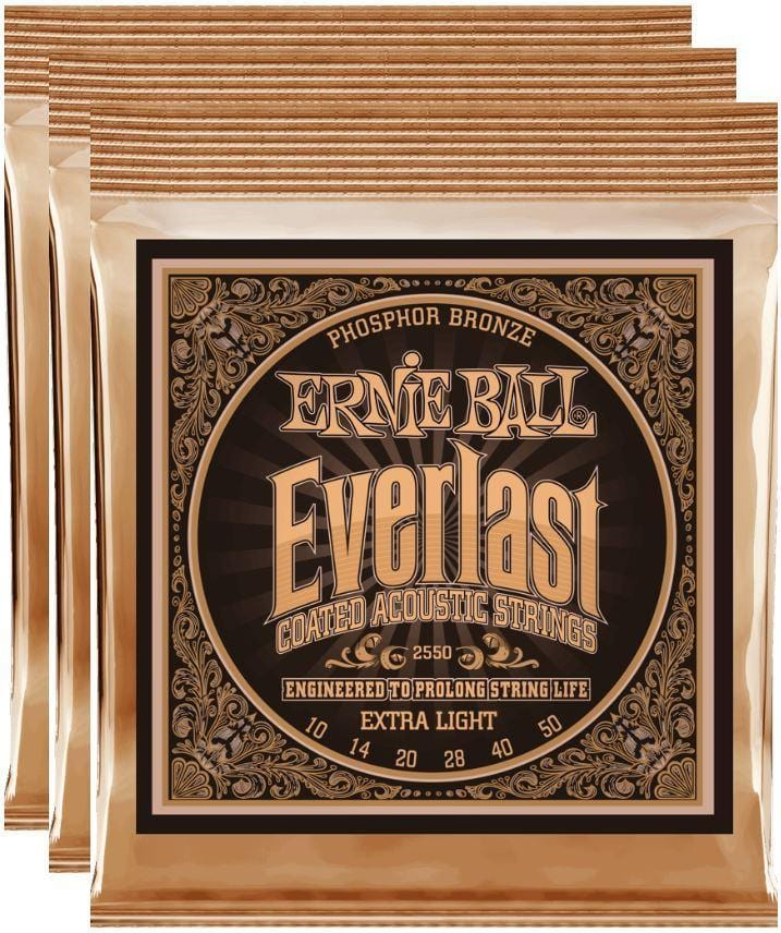 Ernie Ball Everlast Extra Light Coated Phos Bronze Strings 10-50 - 3 Pack