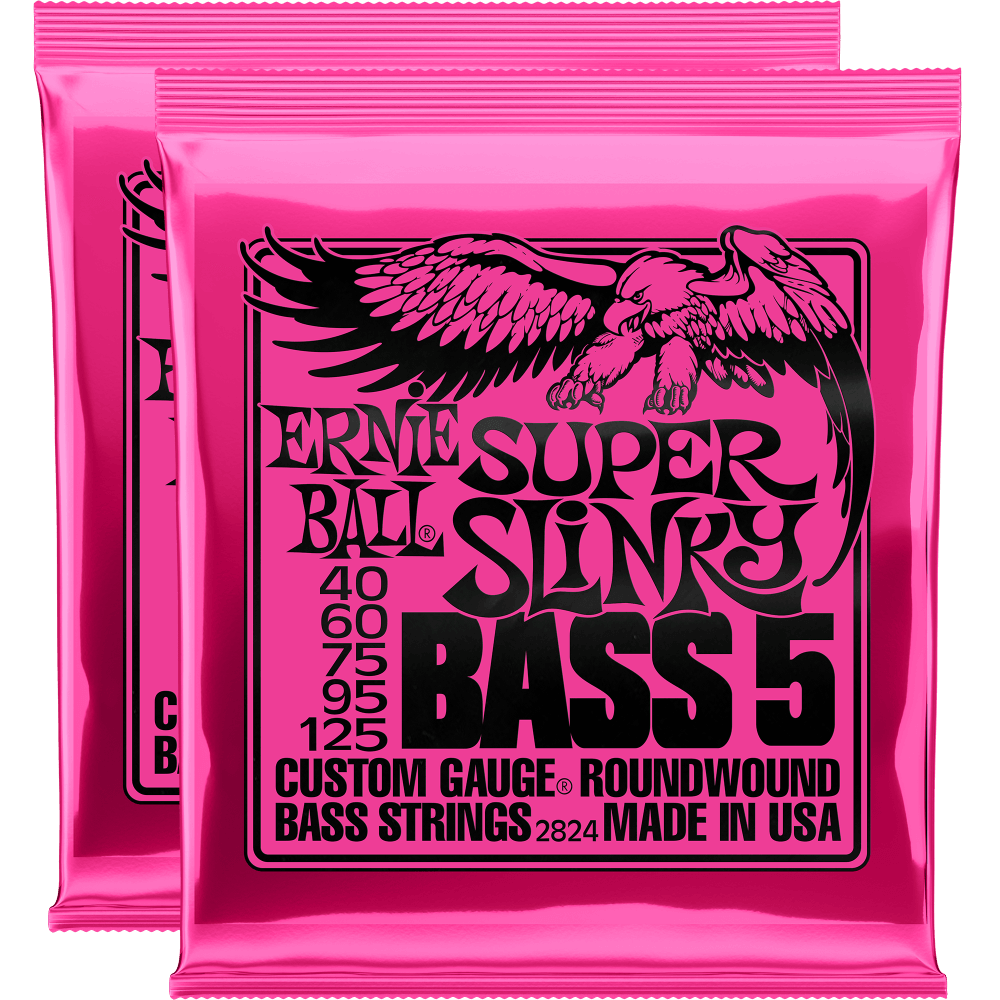 Ernie Ball Super Slinky 5-String Nickel Wound Bass Strings (40-125) 2 Pack