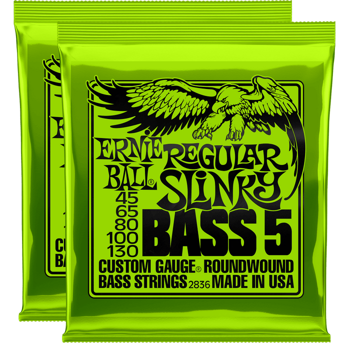 Ernie Ball Regular Slinky 5-String Nickel Wound Bass Strings (45-130) 2 Pack