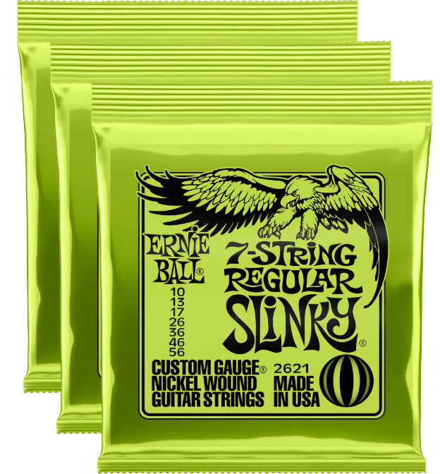 Ernie Ball Regular Slinky 7-String Nickel Wound Strings 10-56 - 3 Pack + Free Shipping!
