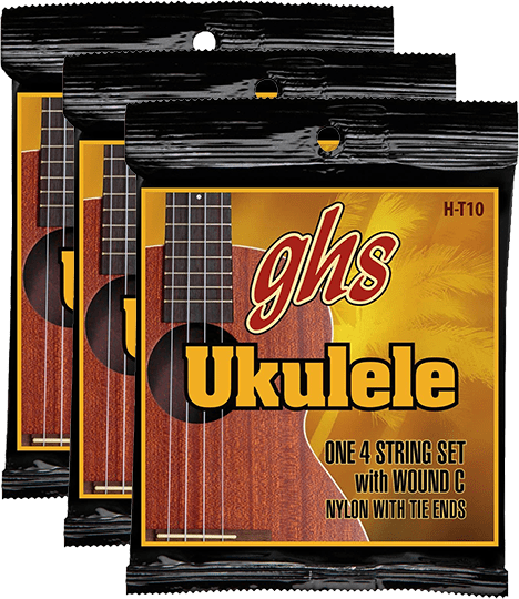 GHS Ukulele Tenor, Black Nylon w/Wound 3rd (H-T10) 3 Pack