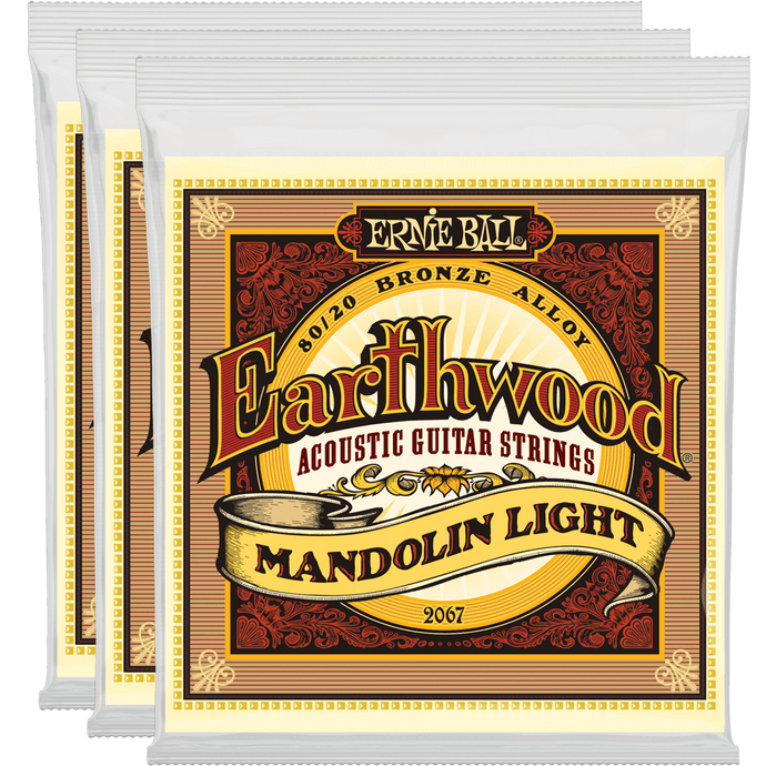 Ernie Ball Earthwood Mandolin Light Loop End 80/20 Bronze 3 Pack
