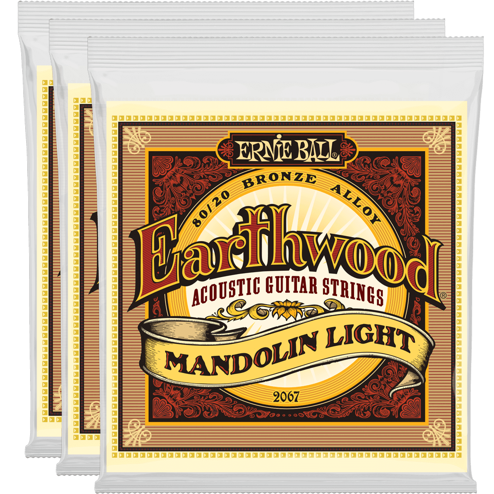 Ernie Ball Earthwood Mandolin Light Loop End 80/20 Bronze 3 Pack + Free Shipping