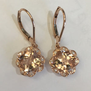 Morganite Leverback Earrings