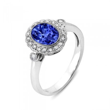 Blue Sapphire 14kt White Gold Ring with Diamonds