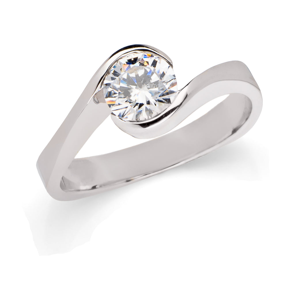 "Toby Pomeroy ""Martiza"" 14k White Gold Engagement Ring"