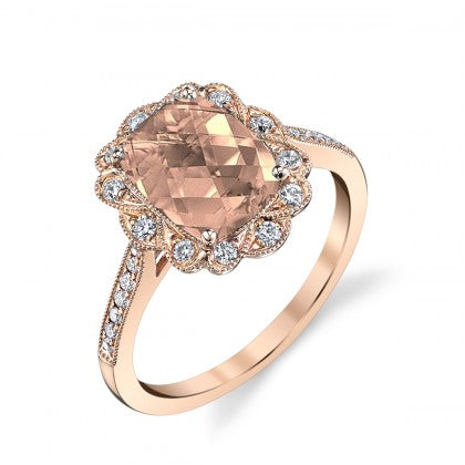 Morganite 14k Rose Gold Ring with Diamonds