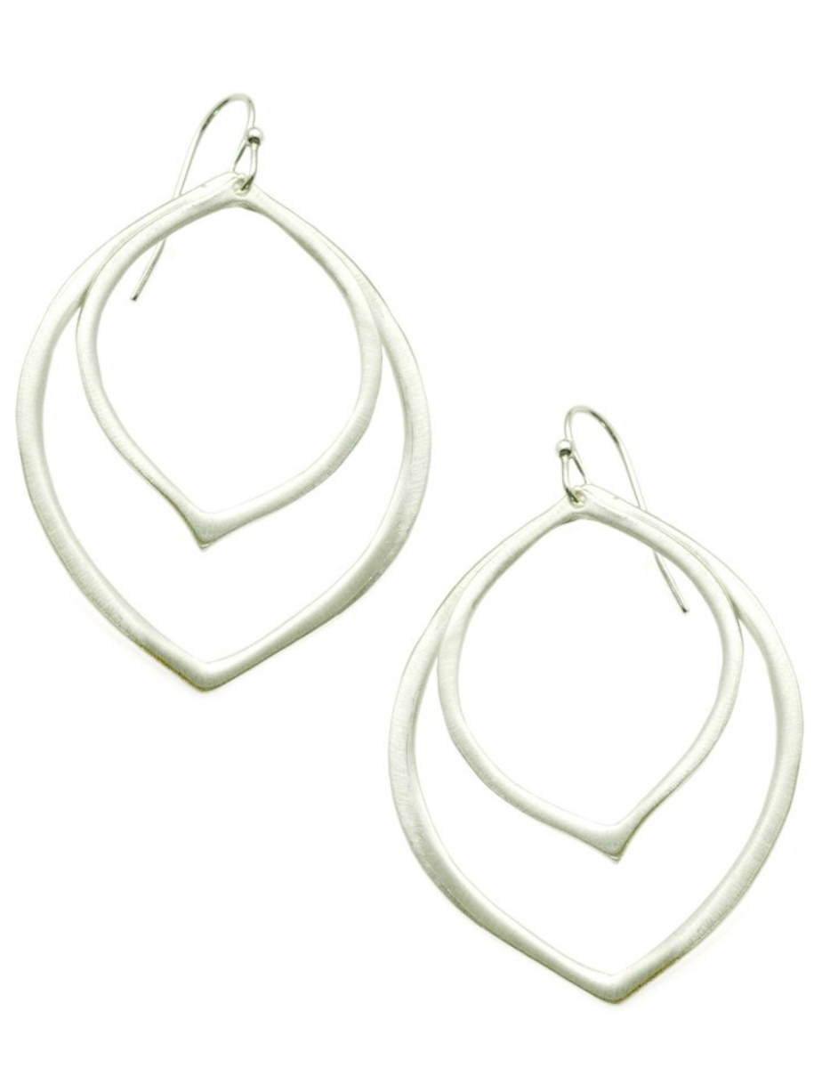 Double Petal Sterling Silver Earrings