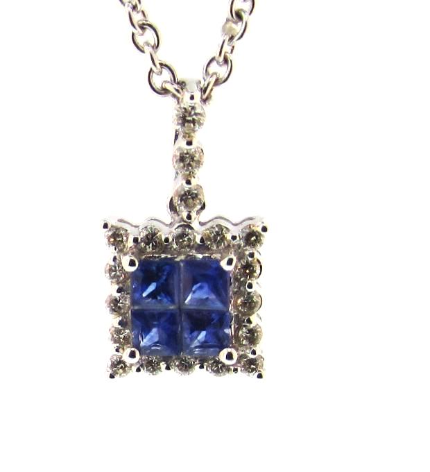 14k White Gold Sapphire Cluster and Diamond Pendant