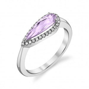 Lavender Amethyst 14kt White Gold Ring with Diamonds