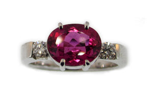 14k White Gold Oval Tourmaline and Diamond Ring
