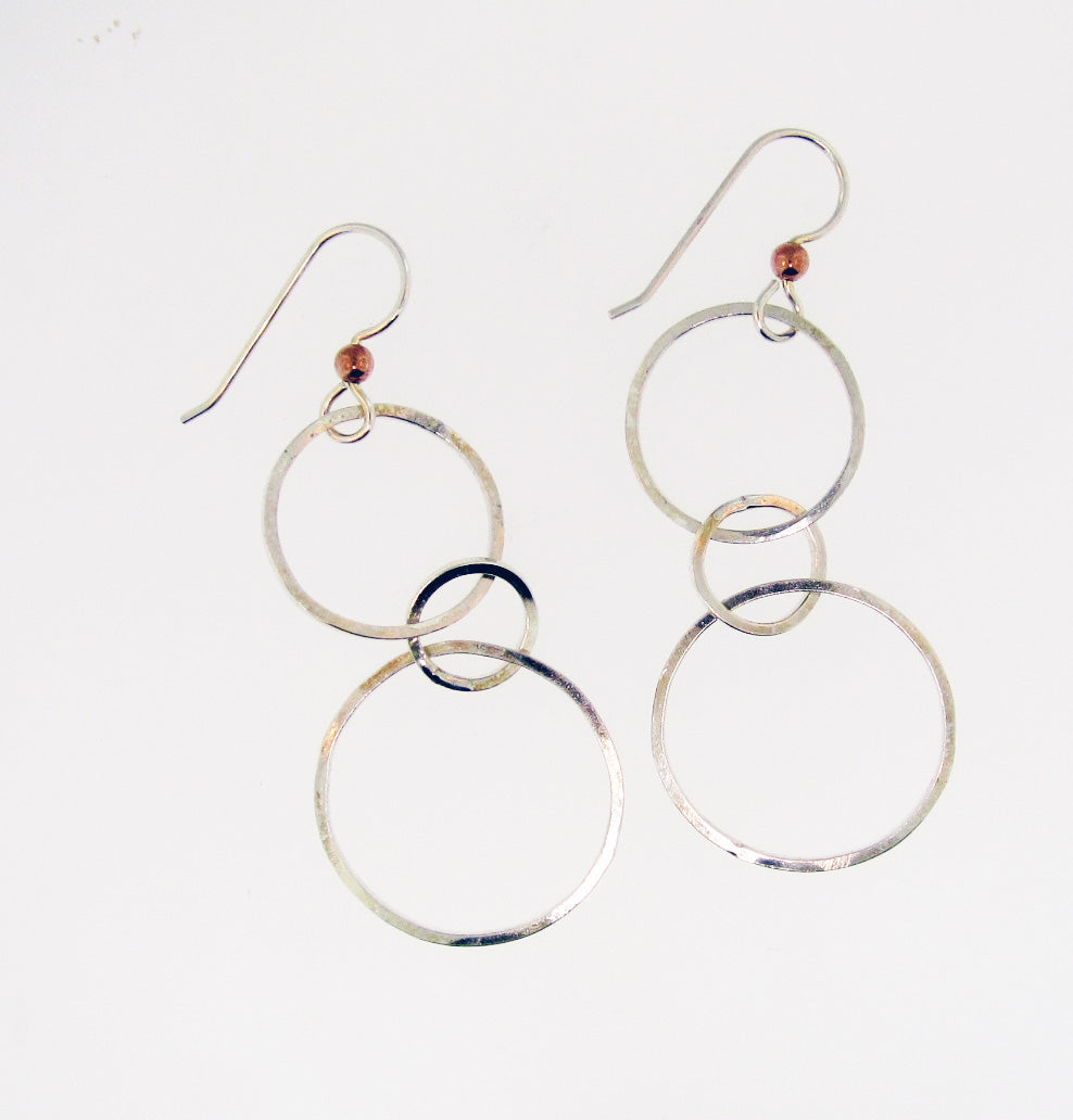 Sterling Silver Three Circle Hoops