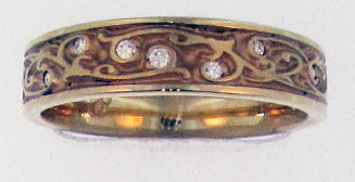 "Toby Pomeroy ""311 Studio"" Garden Gate 14K Yellow Gold Diamond Band"
