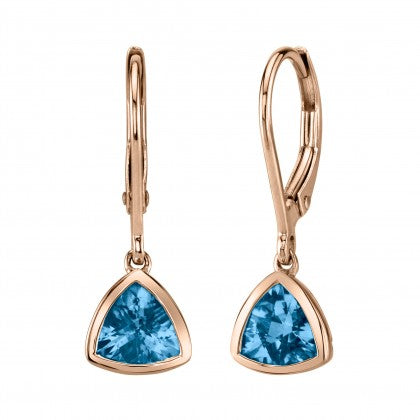 Rose Gold Blue Topaz Earrings