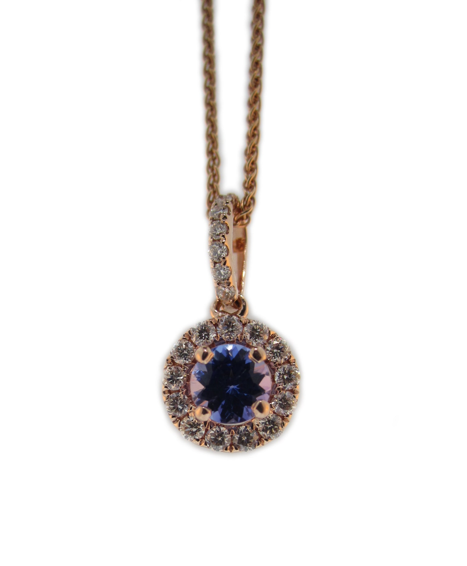 14k Rose Gold Diamond and Tanzanite Pendant