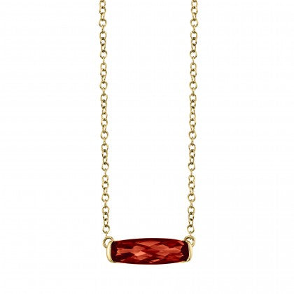 14k Yellow Gold Garnet Necklace