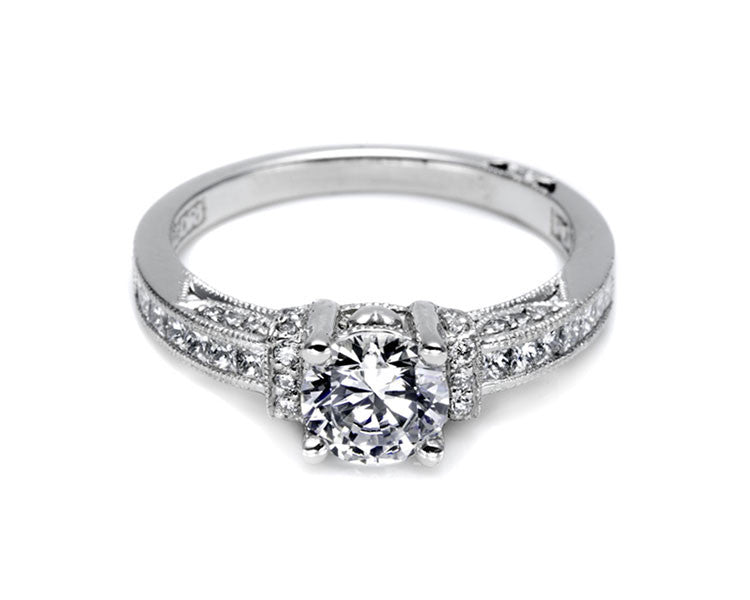 Tacori 18k white gold diamond semi mount engagement ring with milgrain and heart detail