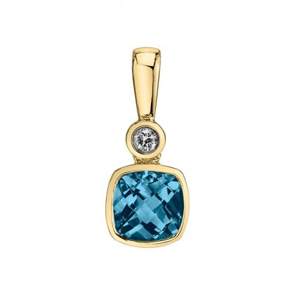 London Blue Topaz 14kt Yellow Gold Pendant with Diamonds