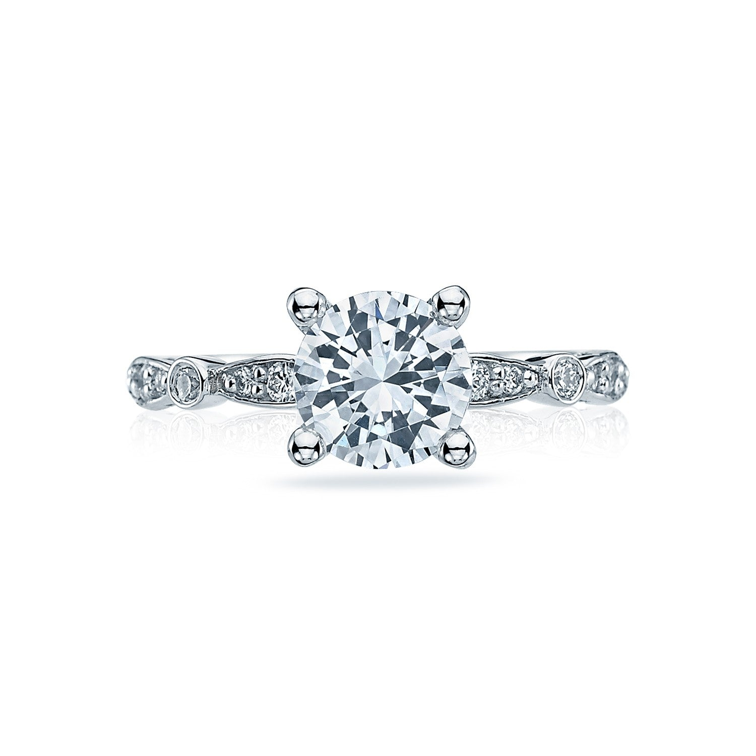 Tacori Sculpted Crescent 18K White Gold Solitaire Diamond Engagement Ring 47-2RD6