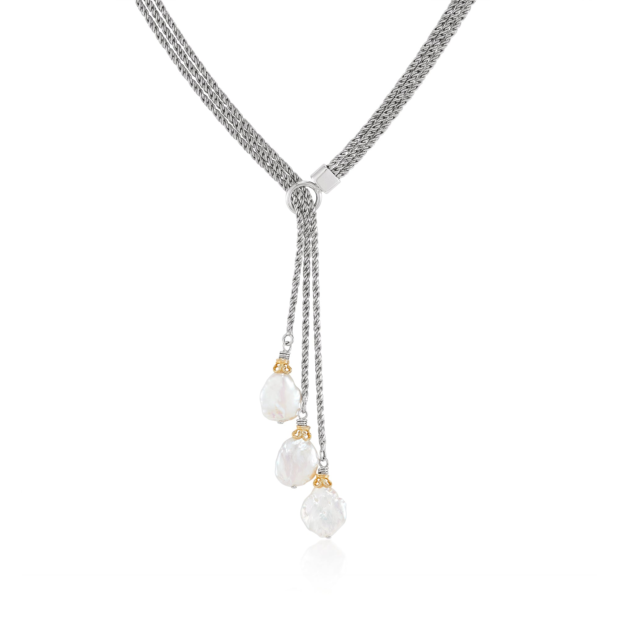 Sterling Silver and Pearl Lariat Necklace