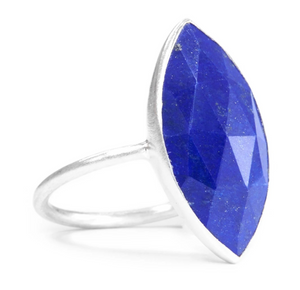 Sterling Silver Large Marquise Cut Lapis Ring
