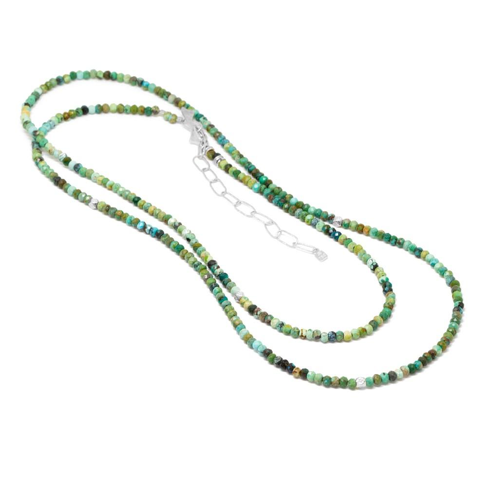 Sterling Silver & Turquoise Beaded Necklace/Wrap Bracelet