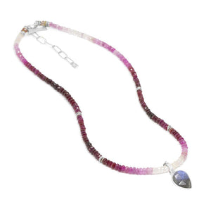 Sterling Silver Shaded Ruby Beaded Short Necklace, 14-16""