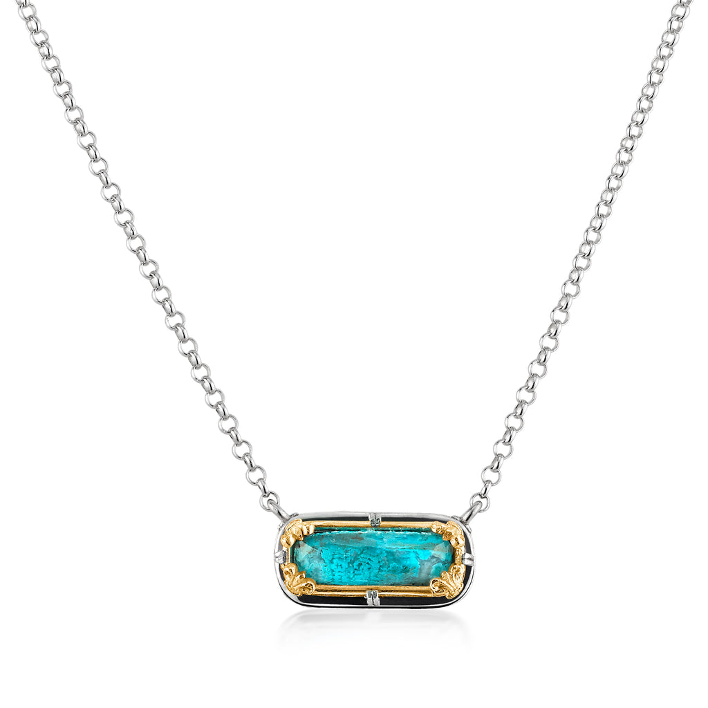 Sterling Silver Chrysocolla Bar Necklace