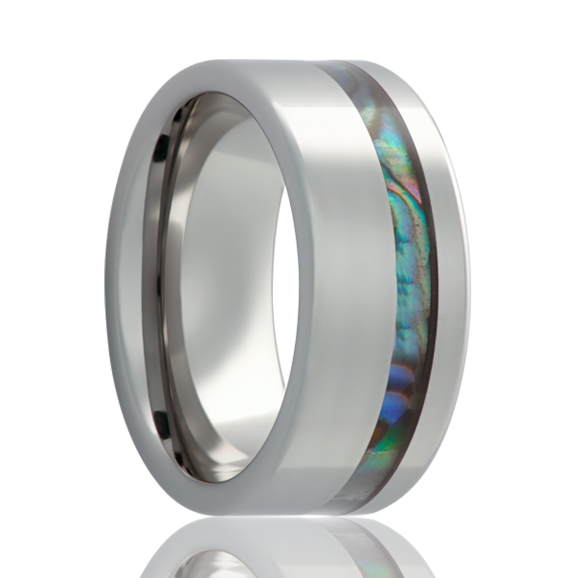Tungsten and Abalone Wedding Band