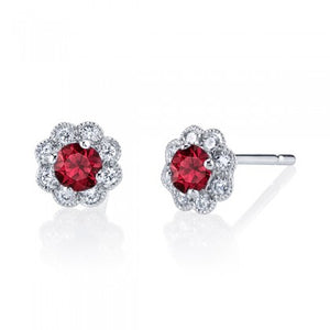 Ruby 14k White Gold Stud Earrings with Diamonds