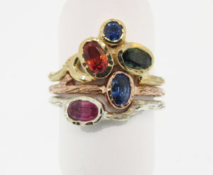 14k Yellow Gold Green, Orange, and Blue Sapphire Ring