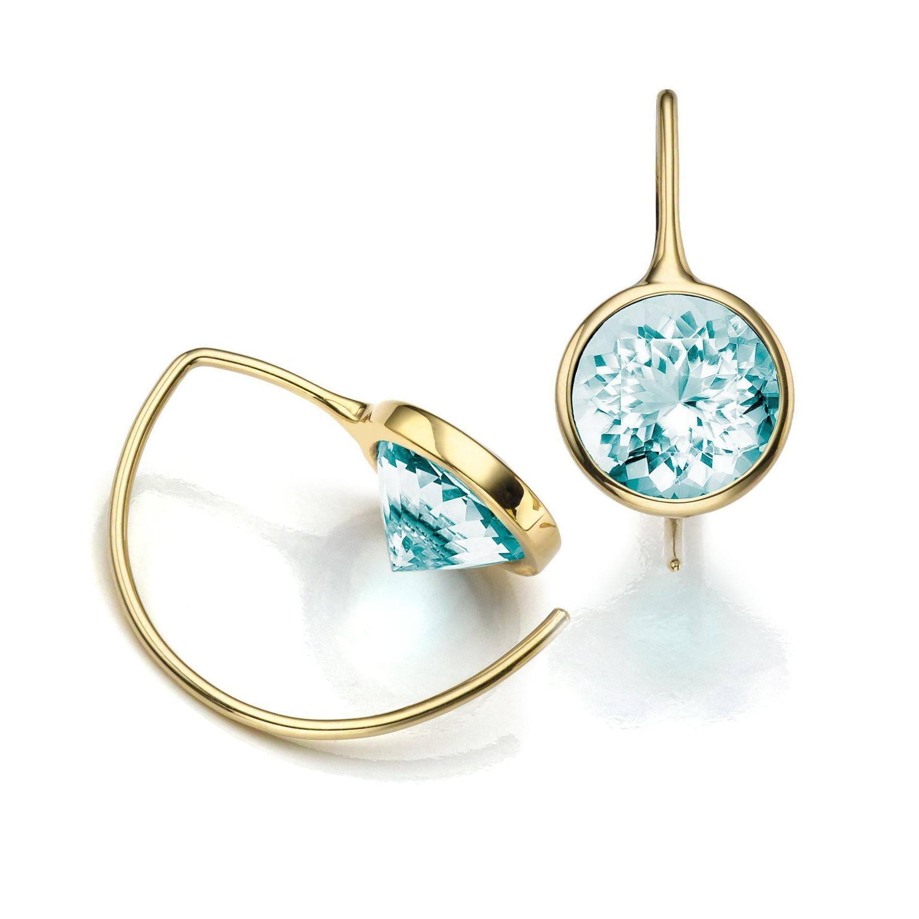 Toby Pomeroy 14K Eco Gold Blue Topaz Comet Earrings