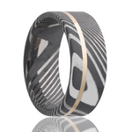 Damascus Steel and Yellow Gold Wedding Band