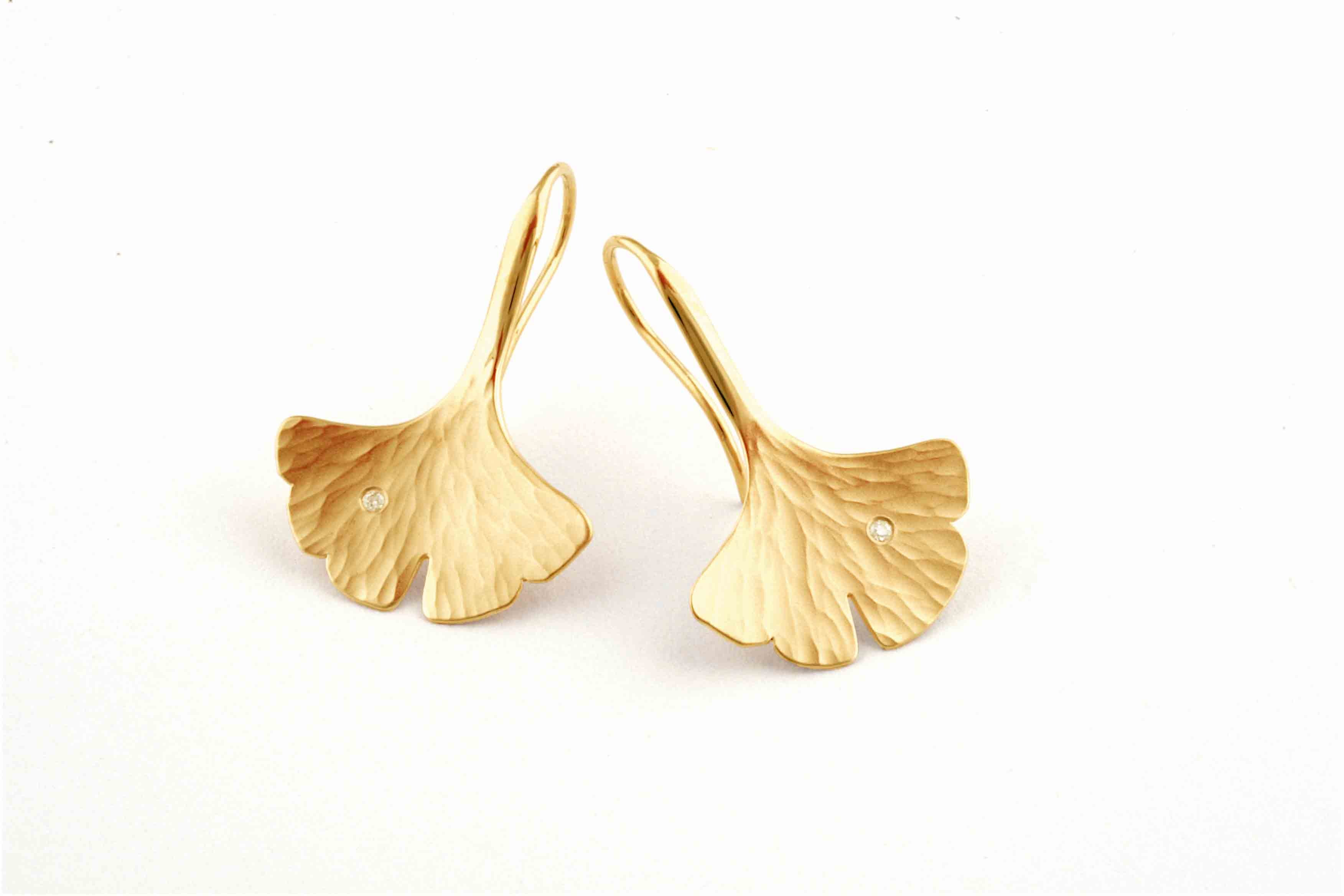 Toby Pomeroy 14K Eco Gold Ginko Leaf Earrings